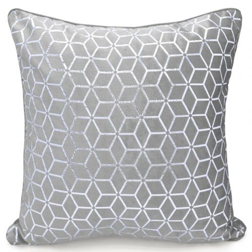 Geometric Shimmer Glitzy Metallic Foil Print Design Filled Scatter Cushion Grey Silver